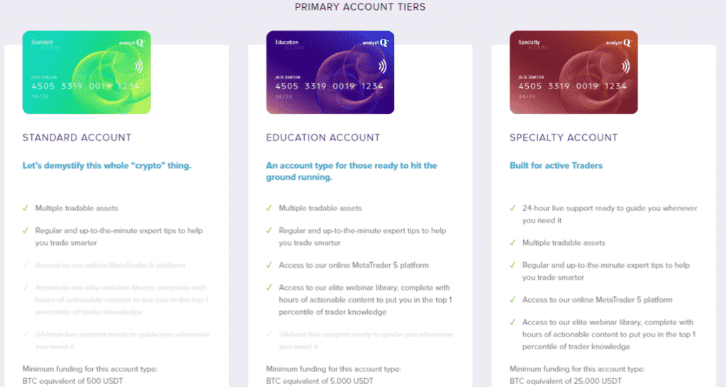 AnalystQ Reviews - Primary Account Types